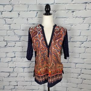 Anthropologie Blue and Orange Print Blouse